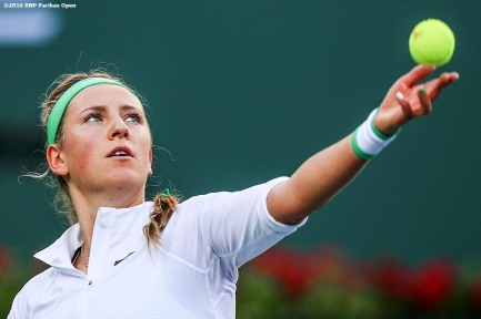 """Victoria Azarenka in action against Magdalena Rybarikova during the 2016 BNP Paribas Open at the Indian Wells Tennis Garden in Indian Wells, California Thursday, March 17, 2016."""