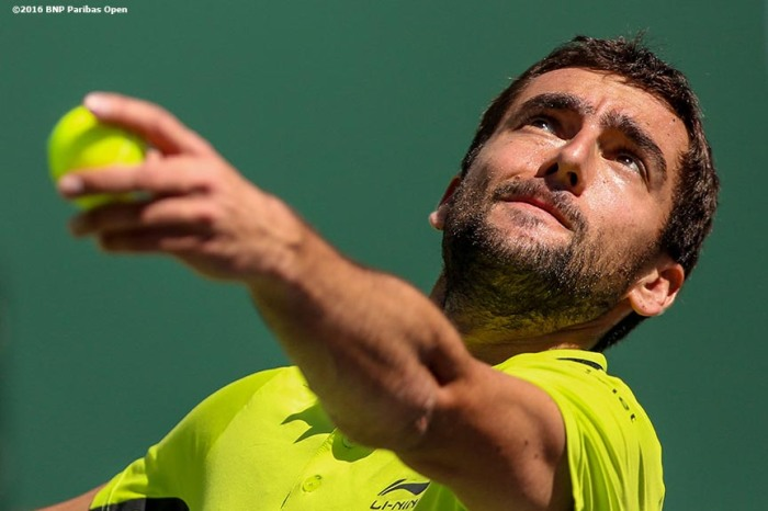 """Marin Cilic in action against David Goffin during the 2016 BNP Paribas Open at the Indian Wells Tennis Garden in Indian Wells, California Wednesday, March 17, 2016."""