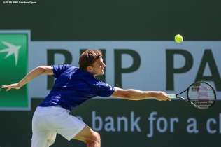 """David Goffin in action against Marin Cilic during the 2016 BNP Paribas Open at the Indian Wells Tennis Garden in Indian Wells, California Wednesday, March 17, 2016."""