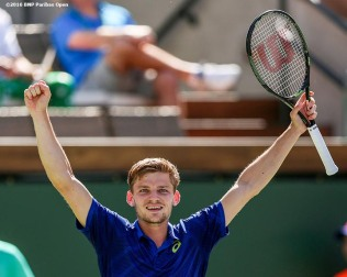 """David Goffin reacts after defeating Marin Cilic during the 2016 BNP Paribas Open at the Indian Wells Tennis Garden in Indian Wells, California Wednesday, March 17, 2016."""