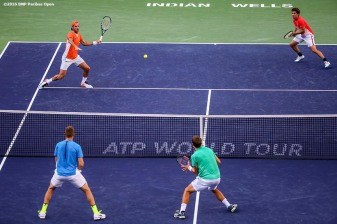 March 18, 2016, Palm Springs, CA: Feliciano Lopez and Marc Lopez in action against Jack Sock and Vasek Pospisil in the men's doubles semi-final during the 2016 BNP Paribas Open at the Indian Wells Tennis Garden in Indian Wells, California Friday, March 18, 2016. (Photos by Billie Weiss/BNP Paribas Open)