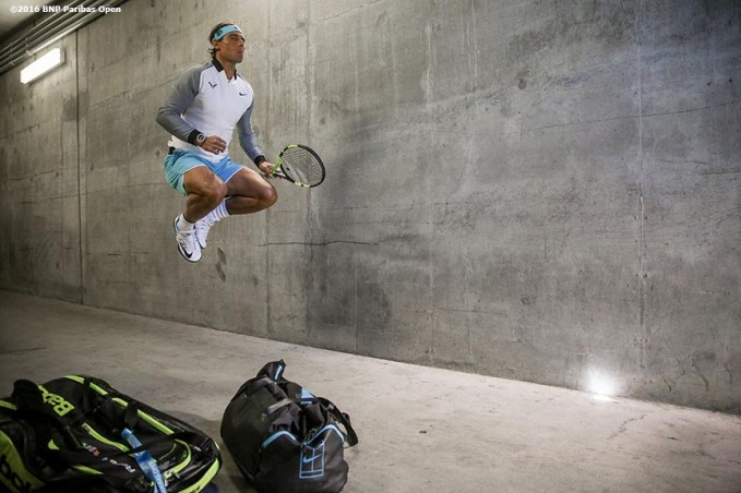 March 18, 2016, Palm Springs, CA: Rafael Nadal warms up in the tunnel before a quarter-final match against Kei Nishikori during the 2016 BNP Paribas Open at the Indian Wells Tennis Garden in Indian Wells, California Friday, March 18, 2016. (Photos by Billie Weiss/BNP Paribas Open)