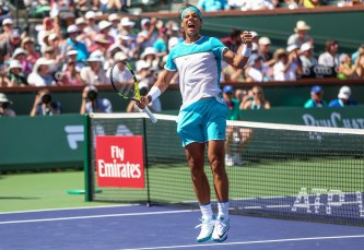 March 18, 2016, Palm Springs, CA: Rafael Nadal reacts after defeating Kei Nishikori in a quarter-final match against Kei Nishikori during the 2016 BNP Paribas Open at the Indian Wells Tennis Garden in Indian Wells, California Friday, March 18, 2016. (Photos by Billie Weiss/BNP Paribas Open)