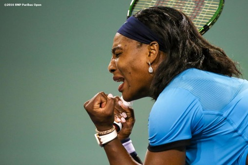 March 18, 2016, Palm Springs, CA: Serena Williams in action the women's semi-final match against Agnieszka Radwanska during the 2016 BNP Paribas Open at the Indian Wells Tennis Garden in Indian Wells, California Friday, March 18, 2016. (Photos by Billie Weiss/BNP Paribas Open)