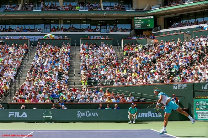 """The stadium is shown during the men's semi-final match between Novak Djokovic and Rafael Nadal during the 2016 BNP Paribas Open at the Indian Wells Tennis Garden in Indian Wells, California Saturday, March 19, 2016."""