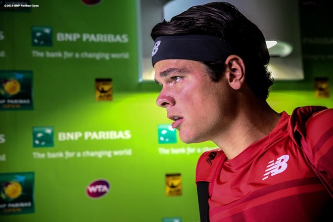 """Milos Raonic waits in the tunnel before playing against David Goffin in the men's semi-final match during the 2016 BNP Paribas Open at the Indian Wells Tennis Garden in Indian Wells, California Saturday, March 19, 2016."""