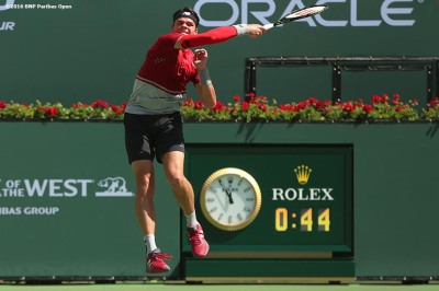 """Milos Raonic in action against David Goffin in the men's semi-final match during the 2016 BNP Paribas Open at the Indian Wells Tennis Garden in Indian Wells, California Saturday, March 19, 2016."""