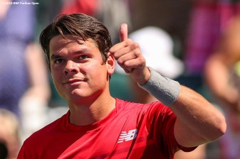 """""""Milos Raonic in action against David Goffin in the men's semi-final match during the 2016 BNP Paribas Open at the Indian Wells Tennis Garden in Indian Wells, California Saturday, March 19, 2016."""""""