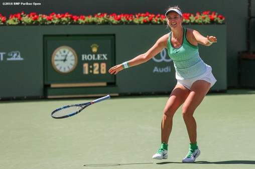 """""""Victoria Azarenka reacts after defeating Serena Williams in the women's finals match during the 2016 BNP Paribas Open at the Indian Wells Tennis Garden in Indian Wells, California Sunday, March 20, 2016."""""""
