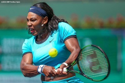 """Serena Williams in action against Victoria Azarenka in the women's finals match during the 2016 BNP Paribas Open at the Indian Wells Tennis Garden in Indian Wells, California Sunday, March 20, 2016."""