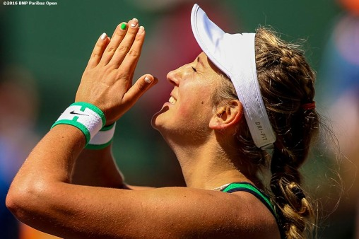 """Victoria Azarenka reacts after defeating Serena Williams in the women's finals match during the 2016 BNP Paribas Open at the Indian Wells Tennis Garden in Indian Wells, California Sunday, March 20, 2016."""