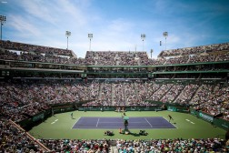 """The stadium is shown during the men's final match between Novak Djokovic and Milos Raonic during the 2016 BNP Paribas Open at the Indian Wells Tennis Garden in Indian Wells, California Sunday, March 20, 2016."""