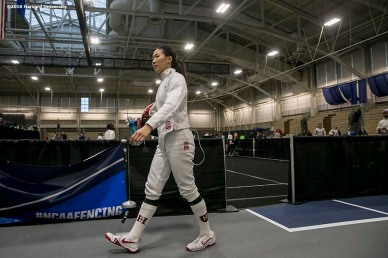 """Sharon Ra of the Harvard University women's fencing team competes during the 2016 NCAA Fencing Championships at Brandeis University in Waltham, Massachusetts Friday, March 25, 2016. """