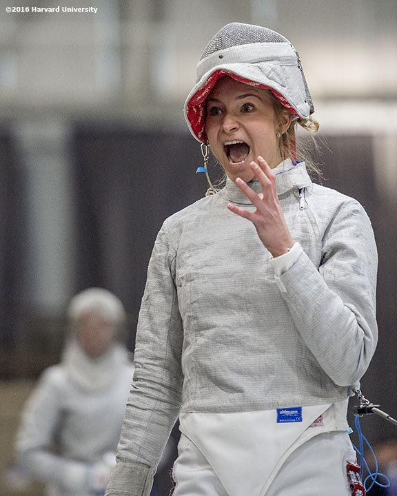 """""""Adrienne Jarocki of the Harvard University women's fencing team competes during the 2016 NCAA Fencing Championships at Brandeis University in Waltham, Massachusetts Friday, March 25, 2016."""""""