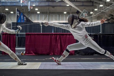 """Sharon Ra of the Harvard University women's fencing team competes during the 2016 NCAA Fencing Championships at Brandeis University in Waltham, Massachusetts Friday, March 25, 2016."""