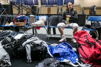 """""""Adrienne Jarocki of the Harvard University women's fencing team prepares to compete during the 2016 NCAA Fencing Championships at Brandeis University in Waltham, Massachusetts Friday, March 25, 2016."""""""