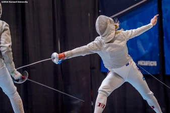 """Adrienne Jarocki of the Harvard University women's fencing team competes during the 2016 NCAA Fencing Championships at Brandeis University in Waltham, Massachusetts Friday, March 25, 2016."""