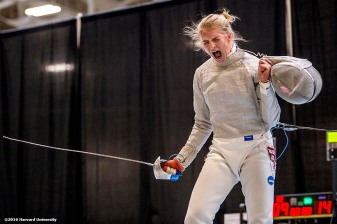 """Adrienne Jarocki of the Harvard University women's fencing team competes during the 2016 NCAA Fencing Championships at Brandeis University in Waltham, Massachusetts Friday, March 25, 2016. """