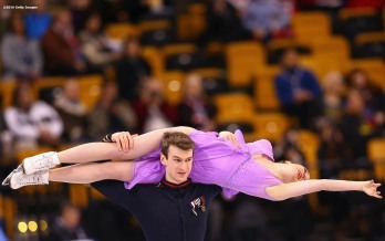BOSTON, MA - MARCH 30: Elisabeth Paradis and Francois-Xavier Ouellette of Canada compete during Day 3 of the ISU World Figure Skating Championships 2016 at TD Garden on March 30, 2016 in Boston, Massachusetts. (Photo by Billie Weiss - ISU/ISU via Getty Images) *** Local Caption *** Elisabeth Paradis; Francois-Xavier Ouellette