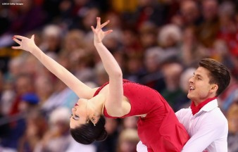 BOSTON, MA - MARCH 30: Celia Robledo and Luis Fenero of Spain compete during Day 3 of the ISU World Figure Skating Championships 2016 at TD Garden on March 30, 2016 in Boston, Massachusetts. (Photo by Billie Weiss - ISU/ISU via Getty Images) *** Local Caption *** Celia Robledo; Luis Fenero