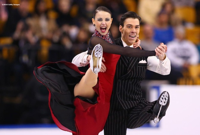 BOSTON, MA - MARCH 30: Federica Testa and Lukas Csolley of Slovakia compete during Day 3 of the ISU World Figure Skating Championships 2016 at TD Garden on March 30, 2016 in Boston, Massachusetts. (Photo by Billie Weiss - ISU/ISU via Getty Images) *** Local Caption *** Federica Testa; Lukas Csolley