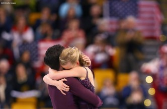BOSTON, MA - MARCH 30: Madison Hubbell and Zachary Donohue react after competing during Day 3 of the ISU World Figure Skating Championships 2016 at TD Garden on March 30, 2016 in Boston, Massachusetts. (Photo by Billie Weiss - ISU/ISU via Getty Images) *** Local Caption *** Madison Hubbell; Zachary Donohue