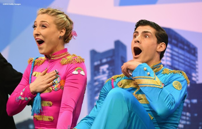 BOSTON, MA - MARCH 30: Piper Gilles and Paul Poirier of Canada react after competing during Day 3 of the ISU World Figure Skating Championships 2016 at TD Garden on March 30, 2016 in Boston, Massachusetts. (Photo by Billie Weiss - ISU/ISU via Getty Images) *** Local Caption *** Piper Gilles; Paul Poirier