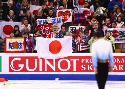BOSTON, MA - MARCH 30: Yuzuru Hanyu of Japan reacts after competing and earning a first place score during Day 3 of the ISU World Figure Skating Championships 2016 at TD Garden on March 30, 2016 in Boston, Massachusetts. (Photo by Billie Weiss - ISU/ISU via Getty Images) *** Local Caption *** Yuzuru Hanyu