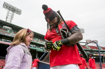 BOSTON, MA - APRIL 11: Hanley Ramirez #13 of the Boston Red Sox signs autographs during the home opener against the Baltimore Orioles on April 11, 2016 at Fenway Park in Boston, Massachusetts . (Photo by Billie Weiss/Boston Red Sox/Getty Images) *** Local Caption *** Hanley Ramirez