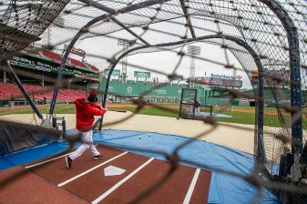 BOSTON, MA - APRIL 11: Mookie Betts #50 of the Boston Red Sox takes batting practice during the home opener against the Baltimore Orioles on April 11, 2016 at Fenway Park in Boston, Massachusetts . (Photo by Billie Weiss/Boston Red Sox/Getty Images) *** Local Caption *** Mookie Betts