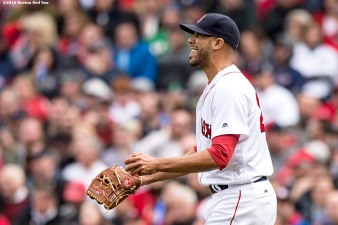 BOSTON, MA - APRIL 11: David Price #24 of the Boston Red Sox reacts after allowing a home run in the third inning against the Baltimore Orioles during the home opener on April 11, 2016 at Fenway Park in Boston, Massachusetts . (Photo by Billie Weiss/Boston Red Sox/Getty Images) *** Local Caption *** David Price