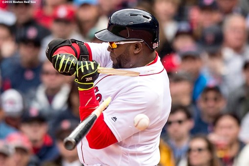 BOSTON, MA - APRIL 11: David Ortiz #34 of the Boston Red Sox breaks his bat in the third inning against the Baltimore Orioles during the home opener on April 11, 2016 at Fenway Park in Boston, Massachusetts . (Photo by Billie Weiss/Boston Red Sox/Getty Images) *** Local Caption *** David Ortiz