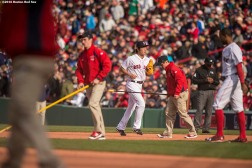 BOSTON, MA - APRIL 11: Koji Uehara #19 of the Boston Red Sox enters the game in the eighth inning against the Baltimore Orioles during the home opener on April 11, 2016 at Fenway Park in Boston, Massachusetts . (Photo by Billie Weiss/Boston Red Sox/Getty Images) *** Local Caption *** Koji Uehara