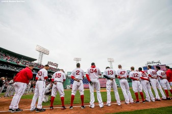 BOSTON, MA - APRIL 11: Starting lineups of the Boston Red Sox are introduced during the home opener against the Baltimore Orioles on April 11, 2016 at Fenway Park in Boston, Massachusetts . (Photo by Billie Weiss/Boston Red Sox/Getty Images) *** Local Caption ***