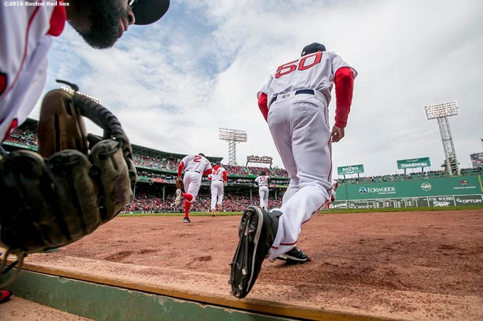 BOSTON, MA - APRIL 11: Mookie Betts #50 of the Boston Red Sox takes the field during the home opener against the Baltimore Orioles on April 11, 2016 at Fenway Park in Boston, Massachusetts . (Photo by Billie Weiss/Boston Red Sox/Getty Images) *** Local Caption *** Mookie Betts