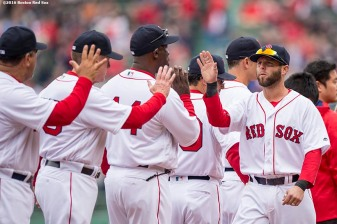 BOSTON, MA - APRIL 11: Dustin Pedroia #15 of the Boston Red Sox high fives teammates during the home opener against the Baltimore Orioles on April 11, 2016 at Fenway Park in Boston, Massachusetts . (Photo by Billie Weiss/Boston Red Sox/Getty Images) *** Local Caption *** Dustin Pedroia