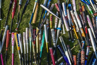 April 16, 2016, Boston, MA: Baseball bats are shown during RBI Opening Day at Jim Rice Field in Boston, Massachusetts Saturday, April 16, 2016. (Photo by Billie Weiss/Boston Red Sox)