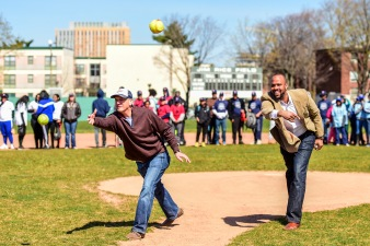April 16, 2016, Boston, MA: Representatives of sponsors Skeeter Snacks and Neighborhood Health Plan throw out a ceremonial first pitch together during RBI Opening Day at Jim Rice Field in Boston, Massachusetts Saturday, April 16, 2016. (Photo by Billie Weiss/Boston Red Sox)
