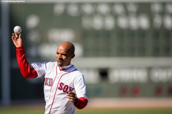 BOSTON, MA - APRIL 16: Marathon runner Meb Keflezighi throws out a ceremonial first pitch before a game between the Boston Red Sox and the Toronto Blue Jays on April 16, 2016 at Fenway Park in Boston, Massachusetts . (Photo by Billie Weiss/Boston Red Sox/Getty Images) *** Local Caption *** Meb Keflezighi