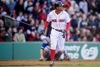BOSTON, MA - APRIL 16: Xander Bogaerts #2 of the Boston Red Sox hits a three run home run during the third inning of a game against the Toronto Blue Jays on April 16, 2016 at Fenway Park in Boston, Massachusetts . (Photo by Billie Weiss/Boston Red Sox/Getty Images) *** Local Caption *** Xander Bogaerts