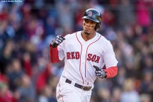 BOSTON, MA - APRIL 16: Xander Bogaerts #2 of the Boston Red Sox reacts after hitting a three run home run during the third inning of a game against the Toronto Blue Jays on April 16, 2016 at Fenway Park in Boston, Massachusetts . (Photo by Billie Weiss/Boston Red Sox/Getty Images) *** Local Caption *** Xander Bogaerts