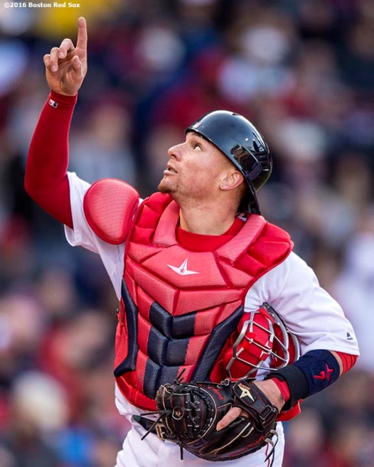 BOSTON, MA - APRIL 16: Christian Vazquez #7 of the Boston Red Sox react during the fifth inning of a game against the Toronto Blue Jays on April 16, 2016 at Fenway Park in Boston, Massachusetts . (Photo by Billie Weiss/Boston Red Sox/Getty Images) *** Local Caption *** Christian Vazquez