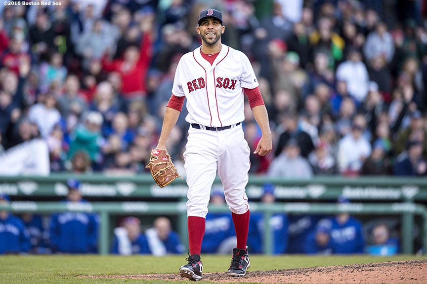 BOSTON, MA - APRIL 16: David Price #24 of the Boston Red Sox reacts during the seventh inning of a game against the Toronto Blue Jays on April 16, 2016 at Fenway Park in Boston, Massachusetts . (Photo by Billie Weiss/Boston Red Sox/Getty Images) *** Local Caption *** David Price