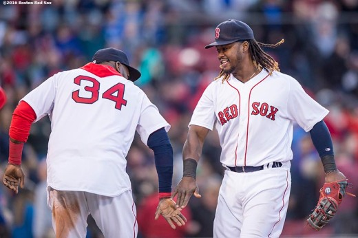 BOSTON, MA - APRIL 16: David Ortiz #34 and Hanley Ramirez #13 of the Boston Red Sox celebrate a win against the Toronto Blue Jays on April 16, 2016 at Fenway Park in Boston, Massachusetts . (Photo by Billie Weiss/Boston Red Sox/Getty Images) *** Local Caption *** Hanley Ramirez; David Ortiz