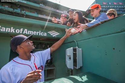 BOSTON, MA - APRIL 17: Xander Bogaerts #2 of the Boston Red Sox signs autographs before a game against the Toronto Blue Jays on April 17, 2016 at Fenway Park in Boston, Massachusetts . (Photo by Billie Weiss/Boston Red Sox/Getty Images) *** Local Caption *** Xander Bogaerts