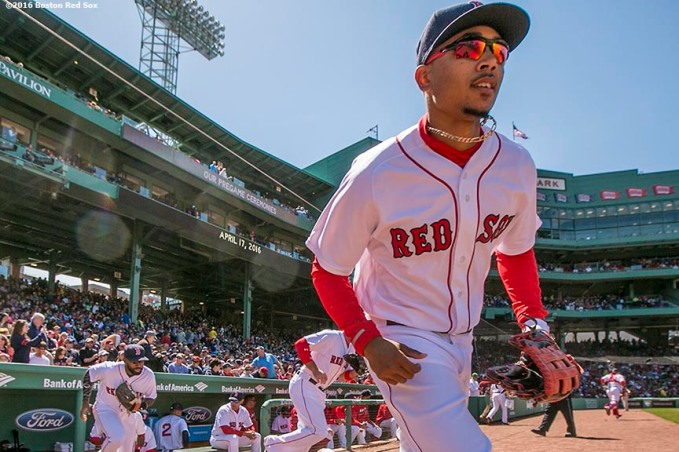 BOSTON, MA - APRIL 17: Mookie Betts #50 of the Boston Red Sox takes the field before a game against the Toronto Blue Jays on April 17, 2016 at Fenway Park in Boston, Massachusetts . (Photo by Billie Weiss/Boston Red Sox/Getty Images) *** Local Caption *** Mookie Betts