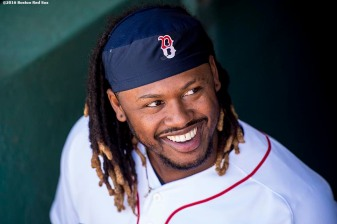 BOSTON, MA - APRIL 17: Hanley Ramirez #13 of the Boston Red Sox looks on before a game against the Toronto Blue Jays on April 17, 2016 at Fenway Park in Boston, Massachusetts . (Photo by Billie Weiss/Boston Red Sox/Getty Images) *** Local Caption *** Hanley Ramirez
