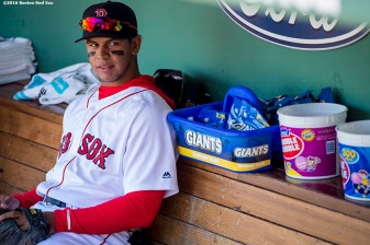 BOSTON, MA - APRIL 17: Marco Hernandez #41 of the Boston Red Sox looks on before making his major league debut in game against the Toronto Blue Jays on April 17, 2016 at Fenway Park in Boston, Massachusetts. (Photo by Billie Weiss/Boston Red Sox/Getty Images) *** Local Caption *** Marco Hernandez