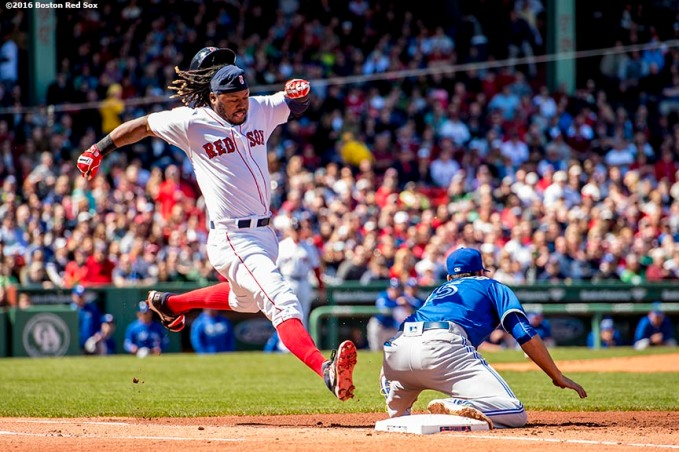 BOSTON, MA - APRIL 17: Hanley Ramirez #13 Boston Red Sox stretches to beat out a ground ball as Chris Colabello #15 of the Toronto Blue Jays catches a throw during a game on April 17, 2016 at Fenway Park in Boston, Massachusetts . (Photo by Billie Weiss/Boston Red Sox/Getty Images) *** Local Caption *** Chris Colabello; Hanley Ramirez
