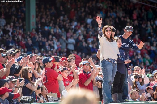 BOSTON, MA - APRIL 17: The family of Martin Richard, who was killed in the Boston Marathon bombings, are recognized during a game between the Boston Red Sox and the Toronto Blue Jays on April 17, 2016 at Fenway Park in Boston, Massachusetts . (Photo by Billie Weiss/Boston Red Sox/Getty Images) *** Local Caption *** Martin Richard